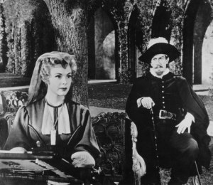 José Ferrer as Cyrano and Mala Powers as Roxane in Stanley Kramer's 1950 film  production of Cyrano de Bergerac.