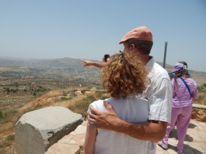 It is believed that this is the overlook where Yehovah promised the land to Abraham.  Here we are looking out toward the Mount of Blessing.