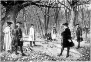 "Duel between Alexander Hamilton and Aaron Burr.  After the painting by J. Mund.  (Illustration from Beacon Lights of History, Vol. XI, ""American Founders."", John Lord, LL.D., London, 1902).  Accessed on Wikimedia Commons.)"